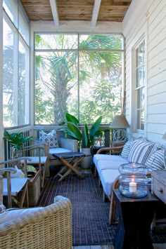 18 Small Conservatory Interior Design Ideas 18 Small Conservatory Interior Design Ideas www. House Design, Clapboard Siding, House With Porch, Conservatory Interior, Small Sunroom, Bright Homes, Porch Decorating, Porch Design, Small Front Porches Designs