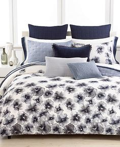Vera Wang Gossamer Floral Standard Sham - home and bedding (pristine white ground with light and dark blue accents, bedroom decor)