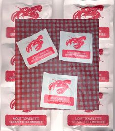 Lobster Wet Napkins Moist Towelettes Clambake Lobster Fest supplies.  http://www.etsy.com/listing/130708993/lobster-wet-napkins-moist-towelettes