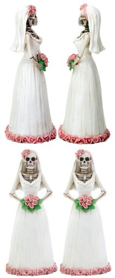 Day of the Dead DOD Skeleton Two Lesbian Brides Gay Wedding Marriage Cake Topper Statue