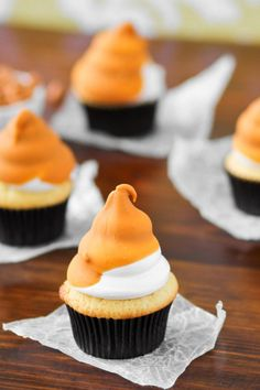 Butterscotch Dip Cupcakes - vanilla velvet pound cake, piles of marshmallow frosting and a dip in creamy butterscotch.