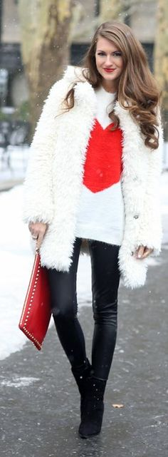 Pop Of Red On Bw Outfit  www.puddycatshoes.com