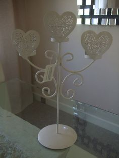 New Ivory Heart Wedding Table Centre Piece Candle Tealight Holder Candelabra   eBay  Cute
