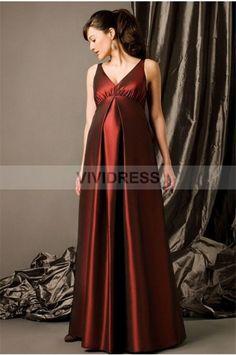 Magnificent A-line Sleeveless V-Neck Floor-length None Taffeta Maternity Bridesmaid Dresses