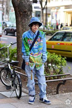 Name: Muyua Shirt: Shonen Junk Pants: Custom Levis Shoes: Nike Hat: No Brand Bag: COMME des GARÇONS