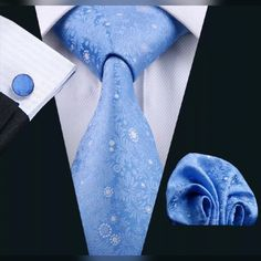 "This is a brand new men's silk tie set. Set includes coordinating tie, handkerchief and cuff link.    Tie length is 61"" from end to end, and 3.25"" width at the widest part of the tie.     **Please Note** This item requires three (3) weeks to ship.  📦 Please take the shipping time into consideration prior to placing your order.  Thank you ~     International shipping is available for this item. 🌎 