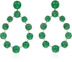 Nina Runsdorf 18K Blackened Gold Frontal Emerald Cabochon Earrings