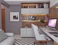 """894 Likes, 9 Comments - Espaços decorados (@espacos.decorados) on Instagram: """"♥️ Estou apaixonada por esse home office! Todo em tons cinza, combinando perfeitamente com a…"""""""