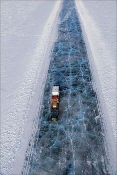 The Ice road along the Lena river - Yakutsk, Russia
