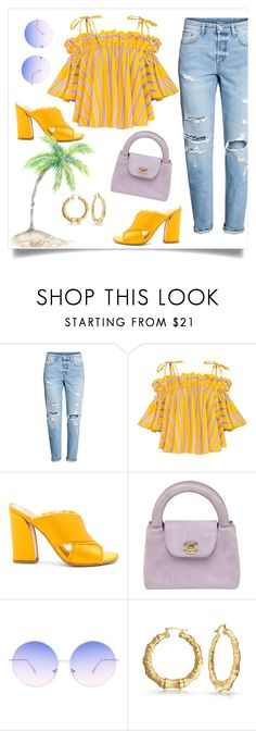 """""""Yellow Stripe Style"""" by fontanaa ❤ liked on Polyvore featuring Dolce Vita, Chanel and Skinnydip"""