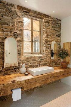 Awesome Farmhouse Rustic Master Bathroom Remodel Ideas - Page 69 of 75 Rustic Master Bathroom, Rustic Bathroom Designs, Zen Bathroom, Stone Bathroom, Rustic Bathroom Decor, Wooden Bathroom, Rustic Bathrooms, Bathroom Styling, Bathroom Furniture