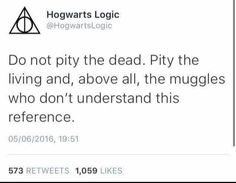 And above all, pity the muggles who don't understand this reference