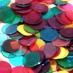 1000 3/4 Inch Assorted Colored Transparent Bingo Chips (Markers) - Casino Supply