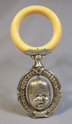 Antique French Sterling Silver Baby Rattle w Spinning Happy Crying Baby Head | eBay
