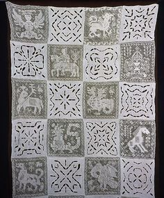 Spain or Portugal    Portion of Bedhanging, 1601/50    Linen, squares of plain weave; cut work embroidered in overcast stitches and buttonholed bars; alternating with squares of knotted square netting embroidered in cloth, darning, and overcast stitches  227.5 x 114.7 cm (89 1/2 x 45 1/8 in.)