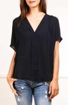VINCE BLOUSE...simple, black, and versatile.