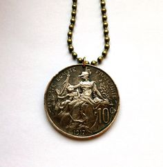 1917 France 10 centimes coin pendant necklace jewelry Draped Bust Lady Republic Liberty protecting her child French motherhood mom No.000980 by acnyCOINJEWELRY on Etsy