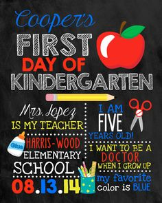 First Day of School Sign Chalkboard Sign by DarlingSailorDesigns