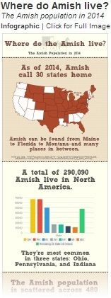 Amish Population 2014..Since 1990, Amish settlements in the South have failed at a much higher rate than any other region..
