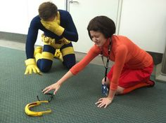 Velma meets Cyclops -- They can't see a thing without their glasses.