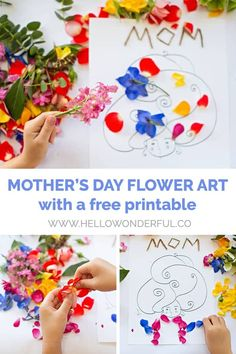 S day flower art with free printable template Mothers Day Crafts For Kids, Crafts For Kids To Make, Mothers Day Cards, Art For Kids, Preschool Crafts, Fun Crafts, Paper Crafts, Mother's Day Printables, Mother's Day Activities