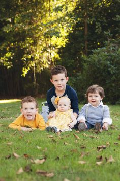 Fall family photo, color coordinating, 4 kid poses, yellow and blue, photo by: Angela Christine Photography