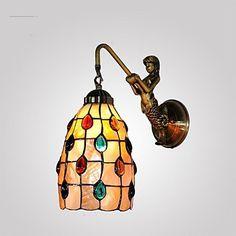 Em Tiffany Style levaram lâmpada De parede para Home Indoor iluminação anjo projeto dos peixes arandela Lampara De Pared E26 / E27(China (Mainland))