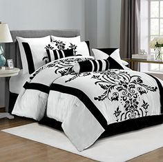 Chezmoi Collection 7-Piece White with Black Floral Flocking Comforter Set Bed-in-a-Bag for Full/Double Size Bedding, 86 by 88-Inch Chezmoi Collection http://www.amazon.com/dp/B002HJW2DA/ref=cm_sw_r_pi_dp_MkOXwb0ZVPN1S