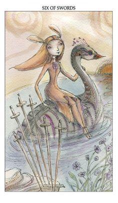Six of Swords - Paulina Cassidy's Joie de Vivres Tarot Deck