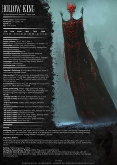 The hollow king DnD monster by RavenVonBloodimir on DeviantArt - picture for you Dungeons And Dragons Rules, Dnd Dragons, Dungeons And Dragons Homebrew, Dungeons And Dragons Characters, Dnd Characters, Fantasy Monster, Monster Art, Fantasy Rpg, Dark Fantasy