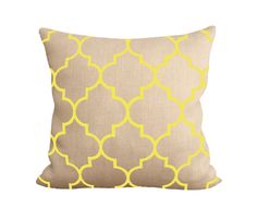 Yellow Morocco natural burlap toss pillow by Fiber and Water || rustic contemporary accent home decor, for the living room sofa, bedroom, kitchen