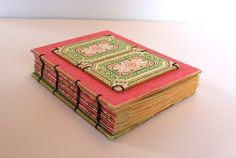 Pink and Green Glittered Handmade Journal by Thenibandquill, $40.00