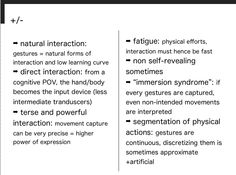 Pros and cons of gesture interaction.