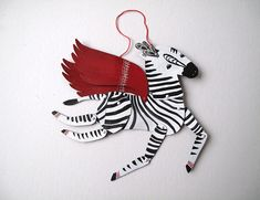 SALE Ziggy the Zebra / Updated Horse Articulated Decoration /