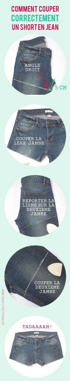 Comment couper un short en jean (sans faire de massacre). This is a bit short for me, but good info on the angle. Diy Shorts, Diy Jeans, Diy Clothing, Sewing Clothes, Diy Fashion, Womens Fashion, Fashion Tips, Fashion Trends, Vintage Fashion