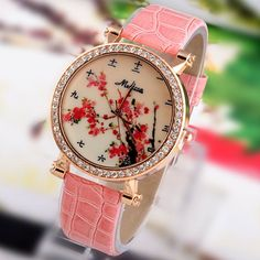 Hot Sale Fashion Lady flower Watches Women Dress Watch Vintage PU Leather Strap Watches