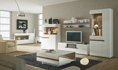 Linate 2 - white entertainment center cabinet / living room wall unit / tv stand for sale online Living Room Wall Units, Living Room Furniture, Modern Wall Units, Modern Tv, Modern Glass, Modern Living, Entertainment Wall Units, Oak Trim, Coffee Table Design