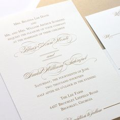 gold wedding invitations with thermography printing