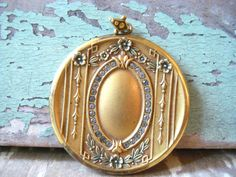 Antique HUGE Victorian Gold Locket Paste by MysteryMisterAntique