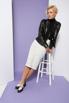 The Tomboy Way: A body-con pencil skirt might not feel like a tomboy staple, but in a thick, substantial knit (and paired with tough-girl basics like loafers and a leather jacket), it's as effortless as a pair of jeans.