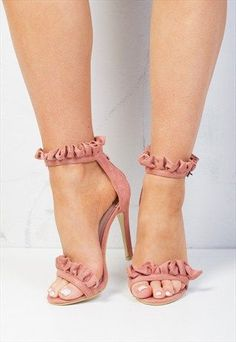 FRILL STRAPPY STILETTO HEELED SANDALS SUEDE BLUSH PINK-LILY LULU