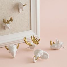 Enjoy free shipping on all purchases over $75 and free in-store pickup on the U-Brands Gold & White Animal Head Push Pins at The Container Store. Add a little life to message boards with these fun and functional push pins. Durable and reusable, their distinctive animal shapes are highlighted with gold tones for extra pop. Strong steel shanks easily secure notes and photos to cork boards, bulletin boards, foam boards, maps and more.