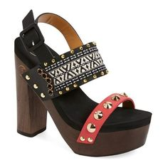 """Flogg 'Rica' Embellished Platform Sandal, 5 1/2"""" heel ($175) ❤ liked on Polyvore featuring shoes, sandals, chunky platform sandals, high heel sandals, strap sandals, slingback sandals and high heel shoes"""