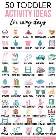 50 Toddler Activities for Rainy Days at Home. Easy Kids Activity Ideas - 50 Toddler Activity Ideas at Home for Rainy Days. How to Entertain a Toddler Indoors. Rainy Day Activities For Kids, Indoor Activities For Toddlers, Toddler Learning Activities, Infant Activities, Family Fun Activities, Outdoor Activities, Rainy Day Fun, Games For Toddlers, Winter Activities