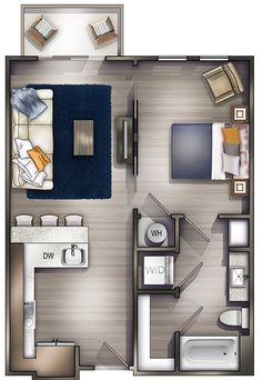 Studio Apartments Nashville | Peyton Stakes Luxury Apartments: A1 1 Bed | 1 Bath 657 Sq. Ft. Starting At $1504