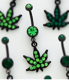Beautiful Cute Black Steel Marijuana Weed Leaf Navel Belly Bar W/ Green Crystals Belly Button Piercing Cute, Belly Button Rings, Weed, Belly Bars, Body Piercings, New Hair Colors, Navel, Jewelry Watches, Crystals