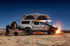 is out exploring the desert in his Flippac equipped Tacoma www. Toyota Tacoma 4x4, Tacoma Truck, Toyota Hilux, Toyota Tundra, Overland Tacoma, Overland Truck, Adventure Car, Off Road Camping, Truck Camping