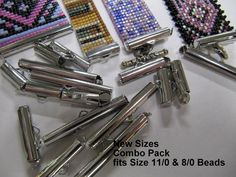 Bead Loom Slider Clasp Combo Pack, 18 Package, 6 Each, 3 Different Sizes,1/2, 3/4, 1 1/4 Inch Long, Fits Size 11 or 8 Beads, Silver Color