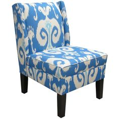 Skyline Furniture Upholstered Ikat Armless Wingback Chair ❤ liked on Polyvore