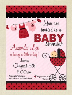 Ladybug Baby Shower Invitation - DIY Printable Invite - You Print. $10.00, via Etsy.